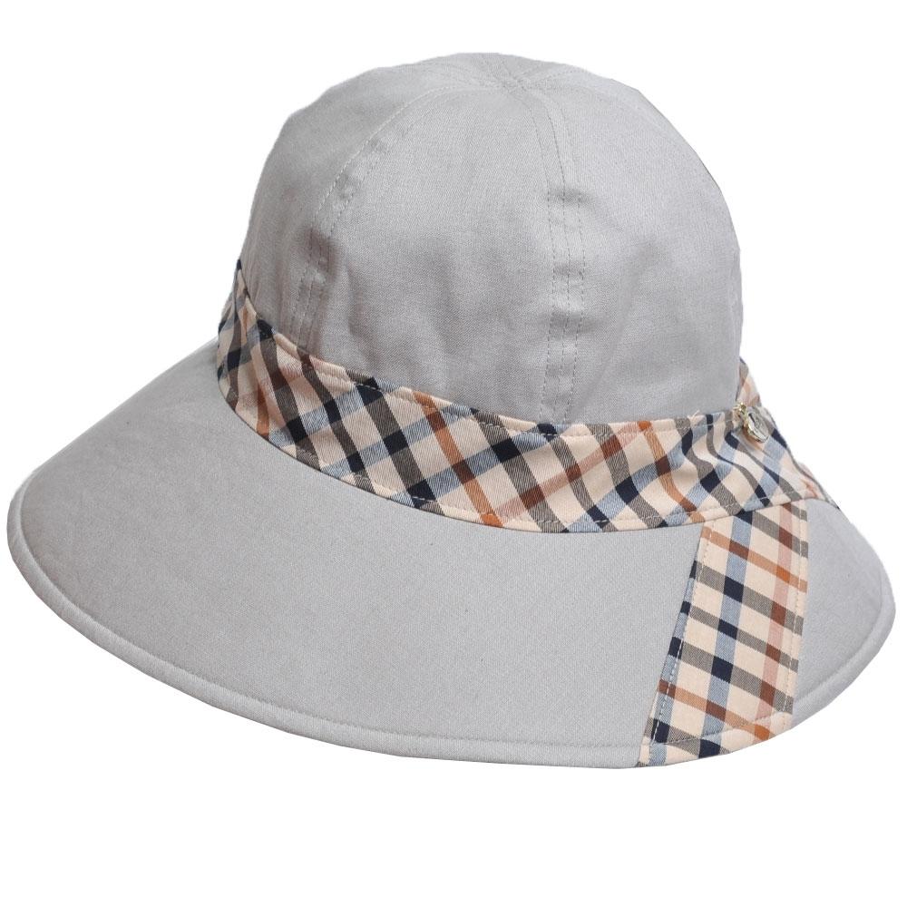 DAKS 經典金色品牌LOGO吊飾格紋蝴蝶結造型帽(灰底)