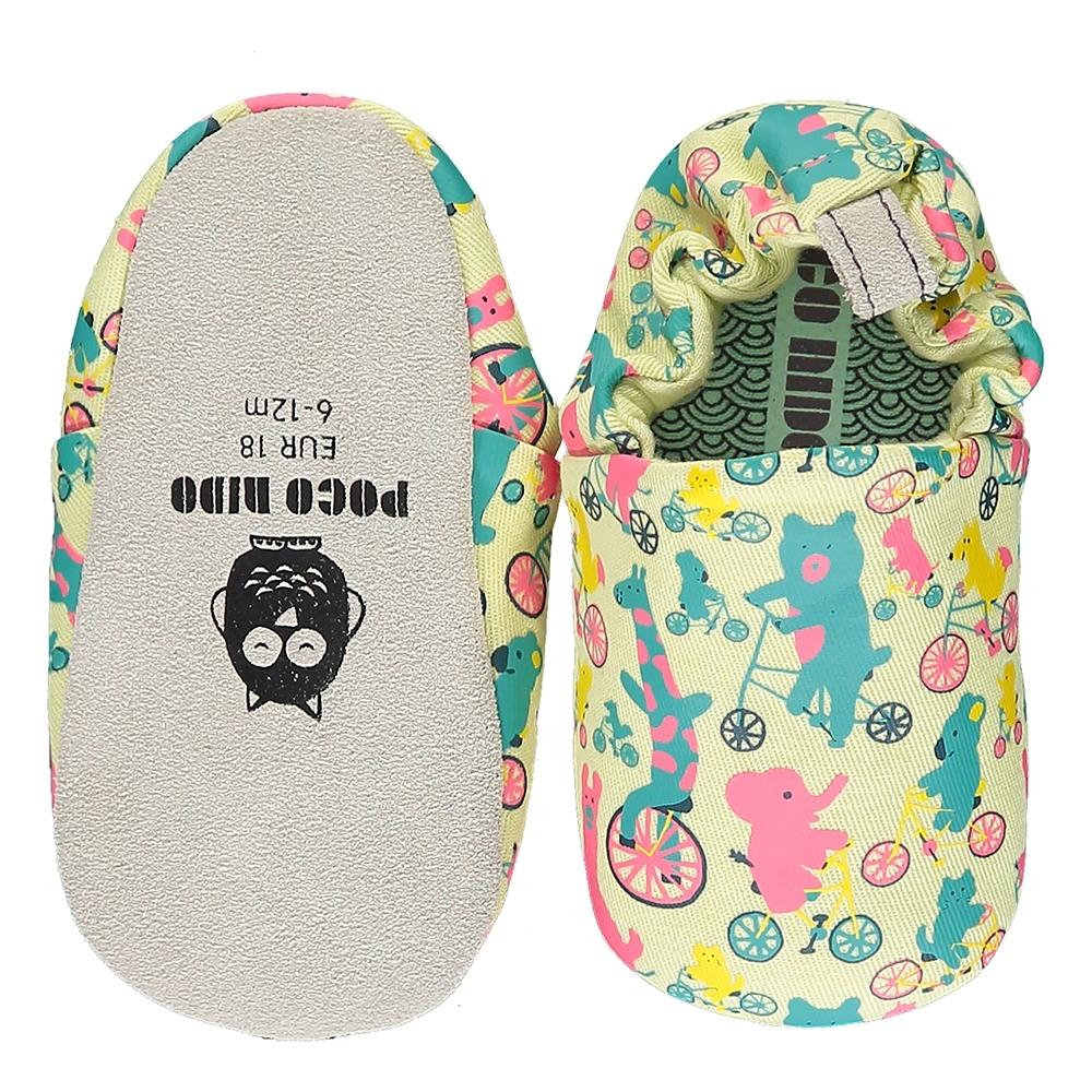 英國 POCONIDO 手工嬰兒鞋 (動物騎車趣 - 檸檬色)