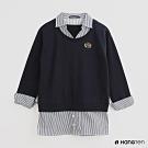 Hang Ten -女裝 - 配色背心拼接襯衫假兩件上衣 - 藍