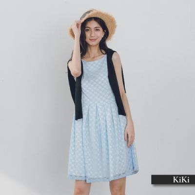【KiKi】修身蕾絲背心-洋裝(二色)