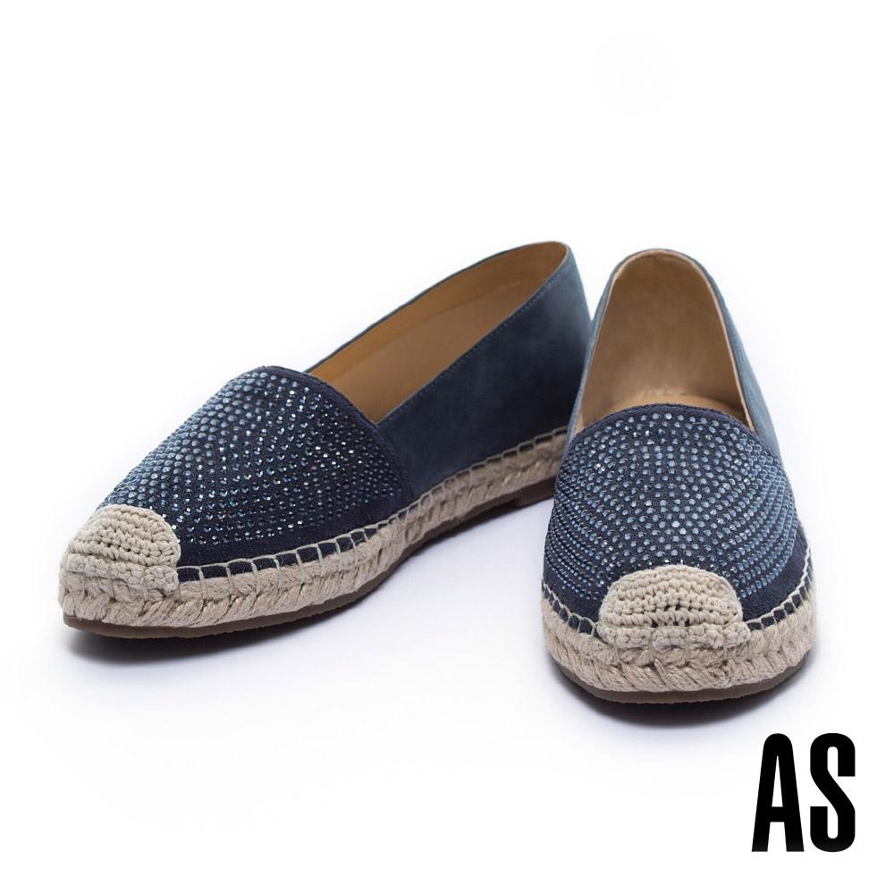 休閒鞋 AS 經典晶鑽羊皮草編厚底休閒鞋-藍