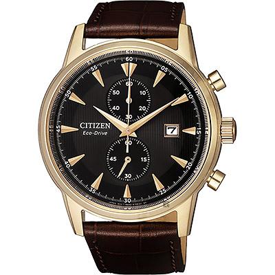 CITIZEN 星辰 光動能紳士計時手錶-玫瑰金框x咖啡/42.5mm