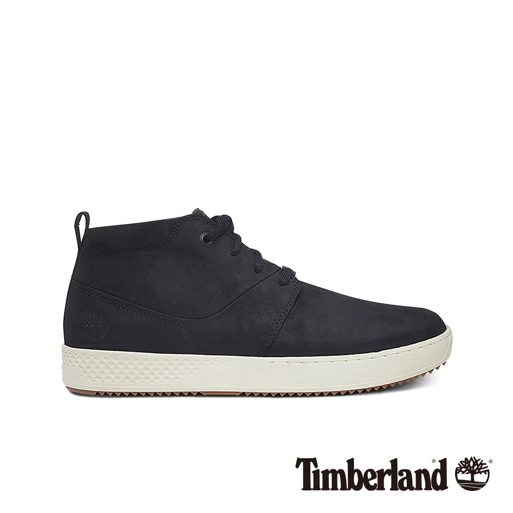 Timberland 男款黑色正絨面皮革休閒鞋|A1Z4K