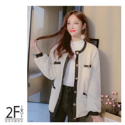 2F韓衣-韓系排釦拼接羊羔絨外套-米白(M-XL)