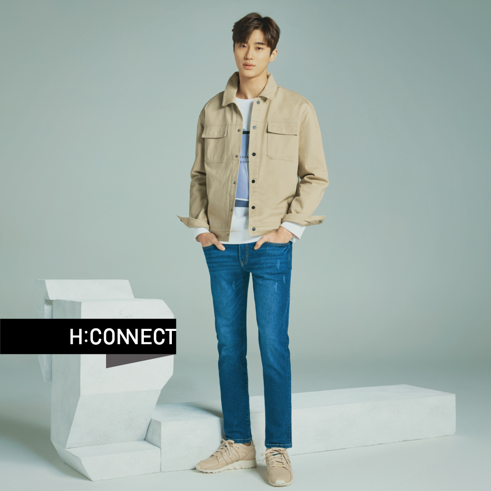 H:CONNECT 韓國品牌 男裝-水洗刷色合身牛仔褲-藍 @ Y!購物