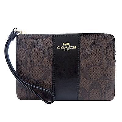 COACH 新款燙印馬車 PVC 直紋拉鍊手拿包(咖啡黑)(展示品)