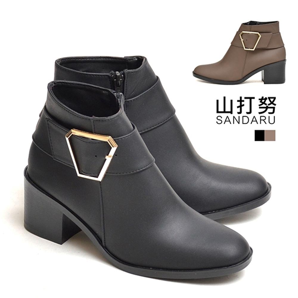 山打努SANDARU-靴子 六角金飾皮革短靴