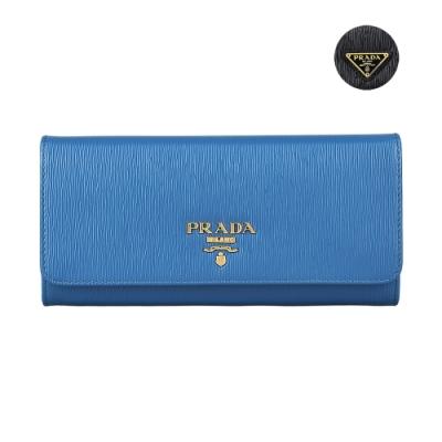 PRADA VITELLO MOVE金字/三角鐵牌LOGO水波紋設計牛皮10卡雙釦長夾(兩色/附卡夾)