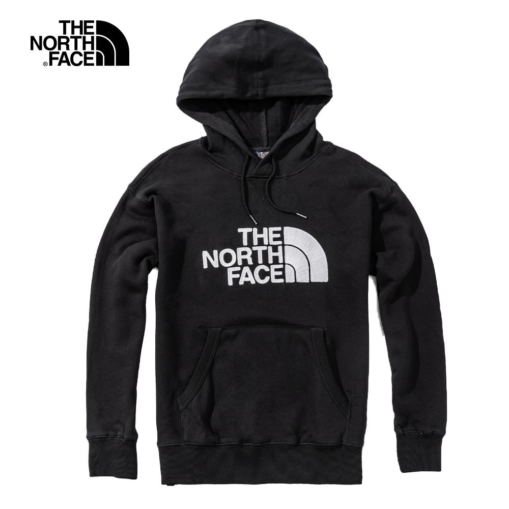 The North Face北面男女款黑色休閒大學T 4NEQJK3