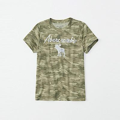 麋鹿 AF A&F 經典大麋鹿文字亮片短袖T恤(女青年款)-迷彩色
