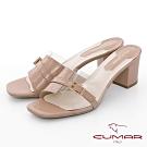 CUMAR 情迷哈瓦那 - 異材質拼接PVC透明感粗跟高跟涼拖鞋-粉紅