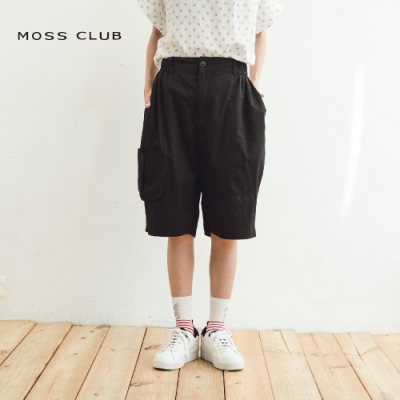 【MOSS CLUB】前口帶可拆式設計休閒-五分褲(黑色)
