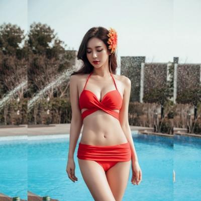 Biki比基尼妮泳衣,大紅多變化性感二件式泳衣比基尼(M-2XL)