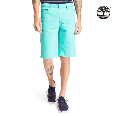 Timberland 男款比斯開灣綠夏日森林印花斜紋布卷邊短褲|A2BUS