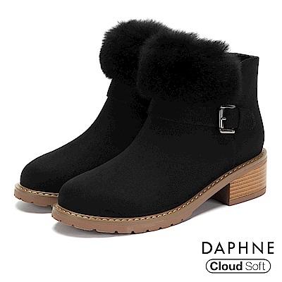 達芙妮DAPHNE 短靴-個性圓頭佐毛草木紋粗跟短靴-黑