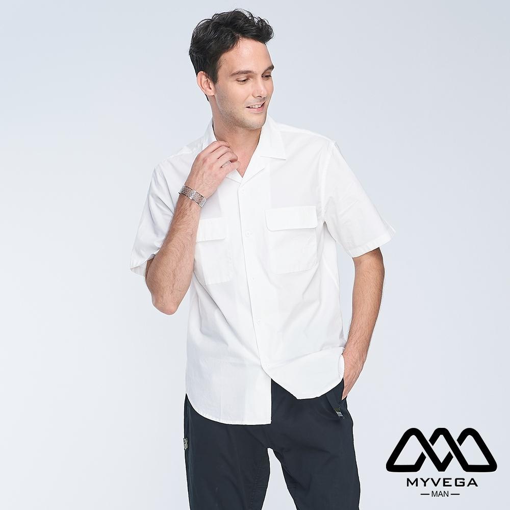 MYVEGA MAN落肩oversize翻領口袋短襯衫-白