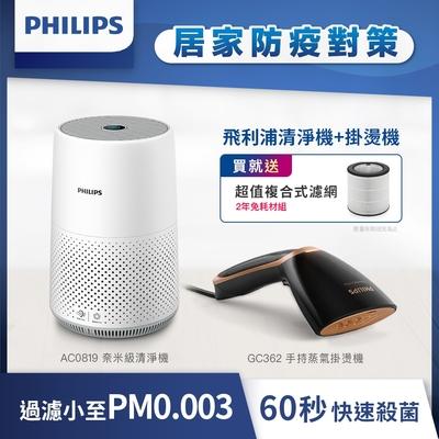 Philips 飛利浦抗敏殺菌組 GC362手持熨斗+AC0819清淨機