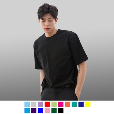 男人幫大尺碼-精梳棉/領口加厚 圓領短袖素面T恤SL001