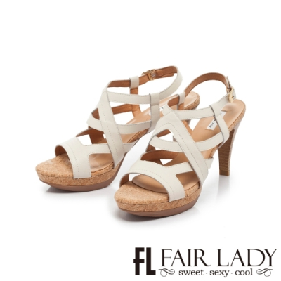 FAIR LADY Early Summer交叉繞帶皮革高跟涼鞋 白