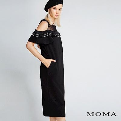 限時商品 | MOMA 壓褶荷葉邊露肩洋裝