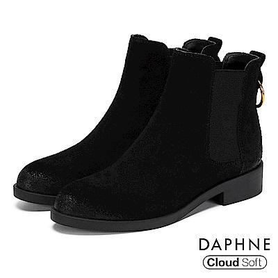 達芙妮DAPHNE 短靴-真皮U字鬆緊帶金屬環粗跟靴-黑