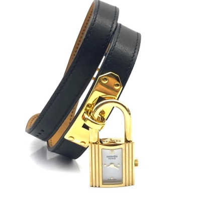 HERMES Kelly系列經典金色鎖頭雙圈小牛皮石英女仕錶(黑金)
