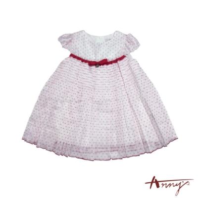 Annys安妮公主-小小音樂家可愛蝴蝶結網紗蓬蓬裙半袖洋裝*7527紅