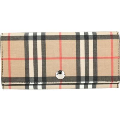 BURBERRY Vintage 格紋環保帆布釦式長夾(黑色內層)