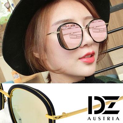 DZ 明星層次線框 抗UV 防曬偏光 太陽眼鏡墨鏡(黑框幻粉膜)