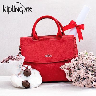 Kipling 手提包 紋路質感蘋果紅-中
