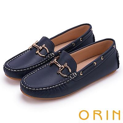 ORIN 復古樂活主義 經典馬蹄扣手縫牛皮平底鞋-藍色