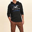 海鷗 Hollister 經典大海鷗電繡文字連帽T恤-黑色