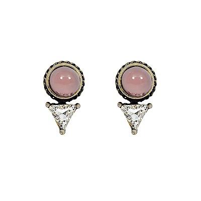 LOVERS TEMPO加拿大品牌 粉色寶石三角水晶 復古金屬色耳環