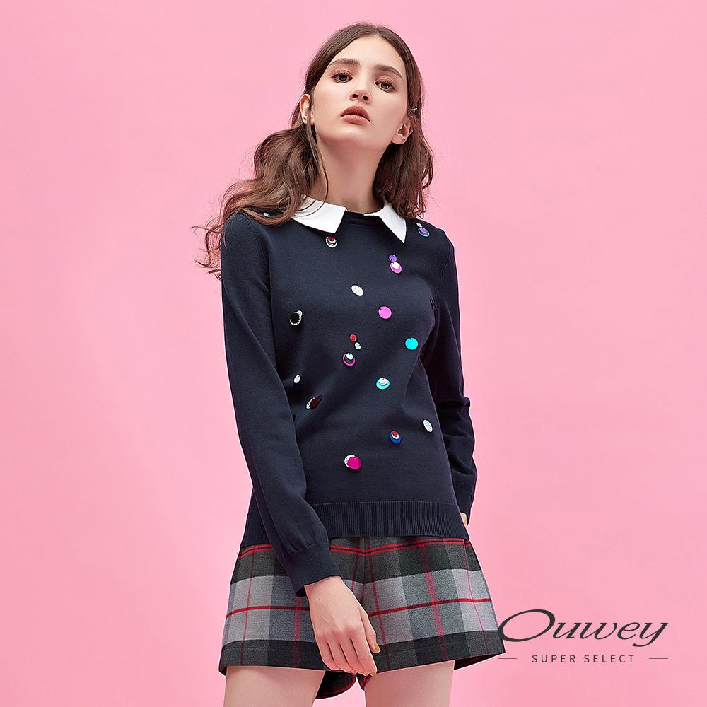 OUWEY歐薇 純棉手縫亮片造型活動式領片針織上衣(藍)