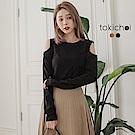 東京著衣 優雅美型削肩舒適彈性上衣-S.M(共二色)