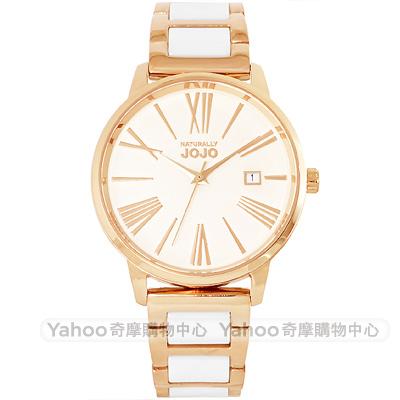 NATURALLY JOJO 羅馬時標時尚陶瓷手錶-玫瑰金/37mm
