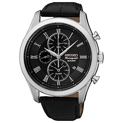 SEIKO精工 霸氣風範三眼計時石英皮帶腕錶(SNAF71P1)-黑x43mm