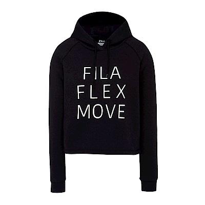 FILA 女短版連帽T恤-黑 5TES-5314-BK