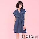 JESSICA RED - 清新簡約無袖洋裝(藍)