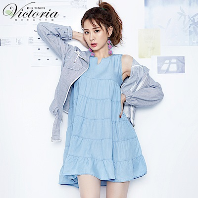 Victoria 蛋糕層次剪接長版背心-女-淺藍