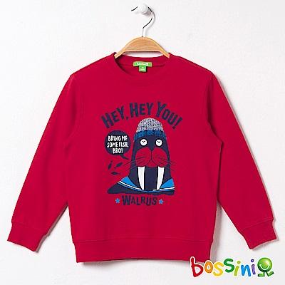 bossini男童-印花厚棉運動衫10暗紅