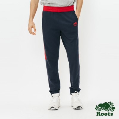 男裝Roots-經典撞色毛圈布棉質長褲-藍