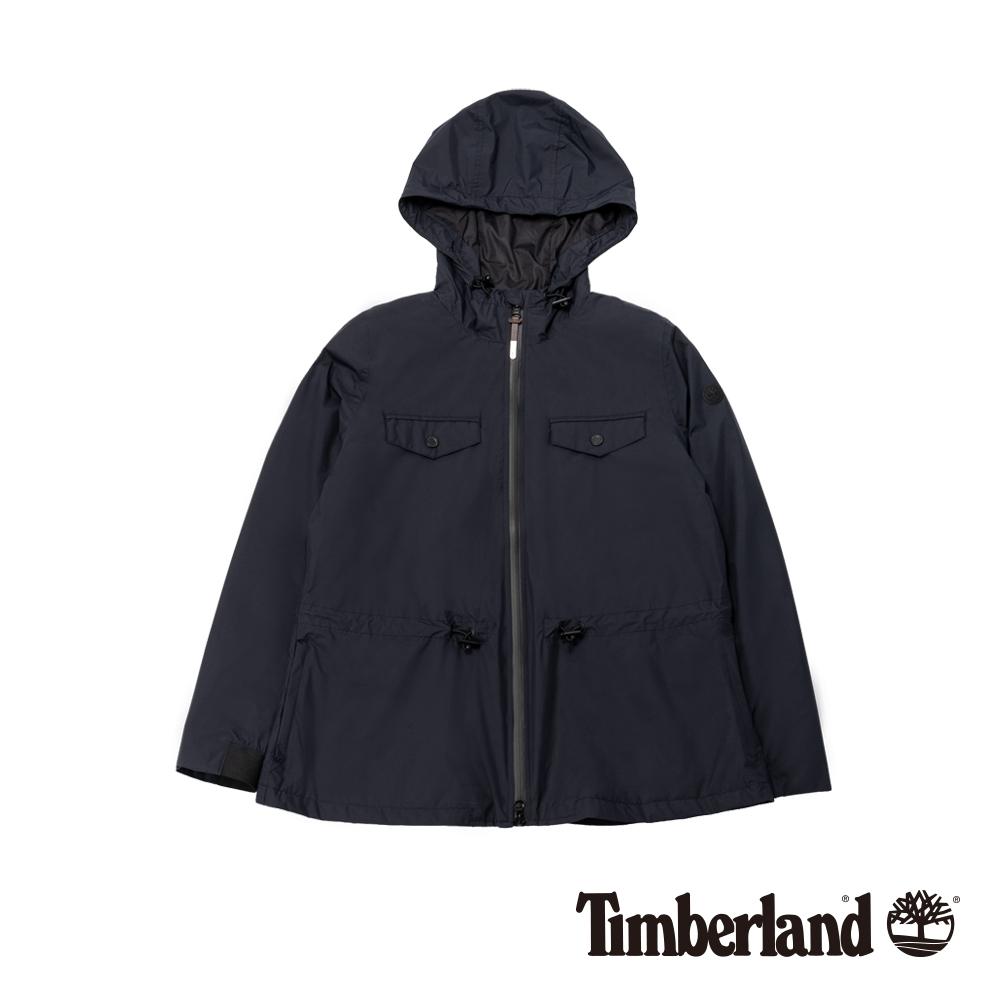 Timberland 女款黑色顯瘦防水連帽派克大衣|B2109