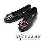 Fair Lady Soft芯太軟 輕奢華金框雙色帶方頭平底鞋 黑