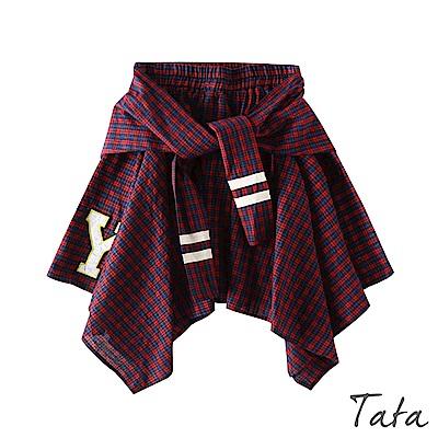 假兩件鬆緊腰不規則格紋裙 TATA