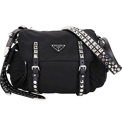 PRADA 鉚釘皮革背帶 尼龍側背包(黑色)