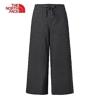 The North Face北面女款黑色防潑水時尚寬版長褲|3VQSJK3