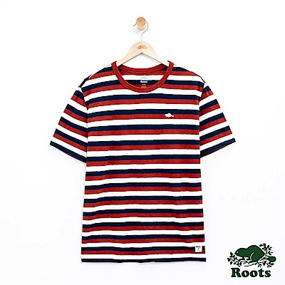 男裝Roots 條紋短袖T恤-棕色
