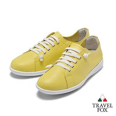 TRAVEL FOX(女) 踏實玩家 超軟牛皮極舒適免綁帶休閒鞋 - 鵝黃