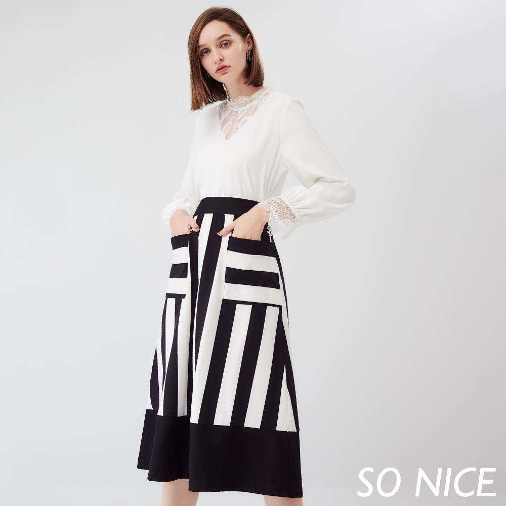 SO NICE優雅俏麗撞色粗條紋長裙